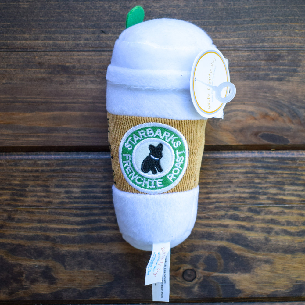 Does your pup prefer a puppacino or a frenchie roast? Lucky for them Starbarks is serving up plush and squeaky lattes! This plush dog toy has an internal squeaker to keep them happy.