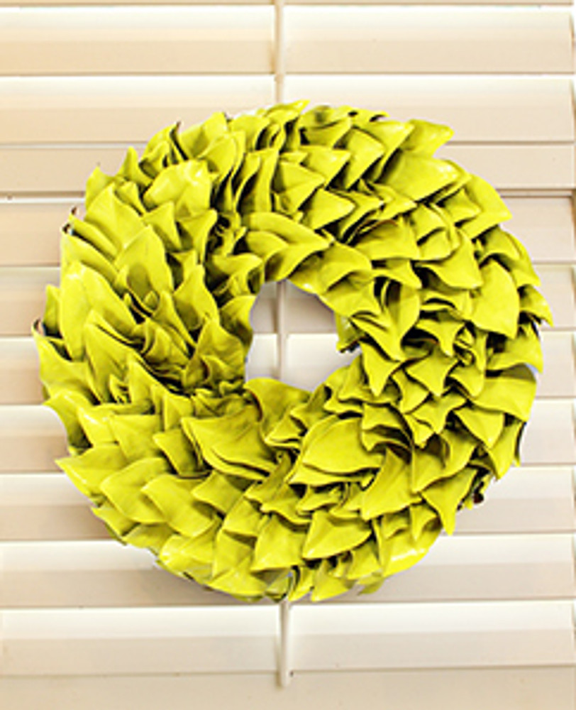 Limoncello Lacquer  Each leaf is hand chosen to piece together one of these beautiful wreaths. The magnolia leaves dry beautifully so you can continue to enjoy them for seasons to come.