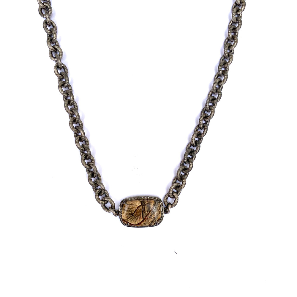 Striated Necklace w/ Pave and Stone