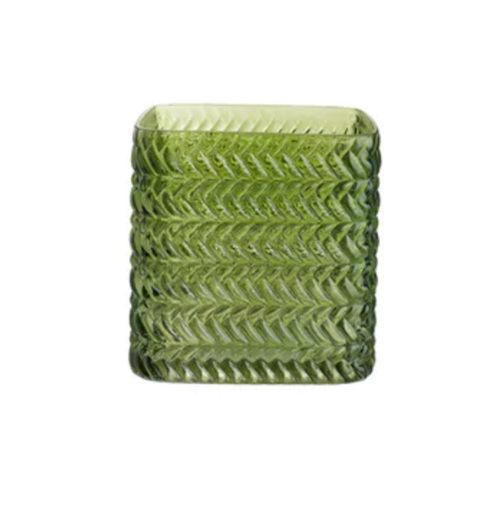 """Great as a votive, vase, decorative object, or for storage! The Greenwich vases are mouth blown inside a geometric mold giving it a unique texture.   3.9""""l X 3.9""""d X 3.9""""h"""