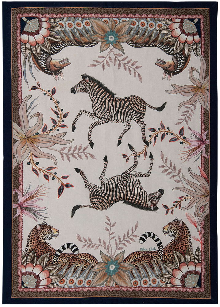 """Bush Bandits  Made in South Africa, the Ardmore artist perfectly capture the spirit of the country. The vibrant colors and animated animals bring something lively and inspiring into your home.     - 19.5"""" X 27.5""""   - 100% Cotton   - Made in South Africa"""