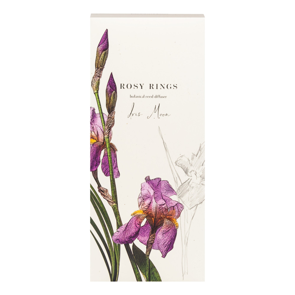 As beautiful as they are fragrant, Rosy Rings signature style provides vibrant fragrances and beautiful presentation. Each 13 oz diffuser comes in a clear vessel with complimenting accents to the fragrance, creating a unique presentation.  Iris Moon: Moonlit iris with gossamer hints of jasmine and the delicate freshness of wild violets.