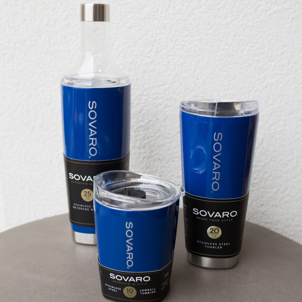 The Sovaro Tumbler is you new favorite cup, the 20oz size is perfect to hold any drink on the go! The double-wall vacuum insulation keeps drinks hot or cold, and prevents any sweating. The shatterproof lid keep your mouth off the metal and offers an elevated lip for easy sipping and a on-click closure to make sure you never have a spill. The best feature by far is the ergonomic design, you get a sleek looking cup that is easy to hold and fits seamlessly into your cup holder.   Dimensions: 3.75 X 3.5 X 8  Made with kitchen grade stainless steel.