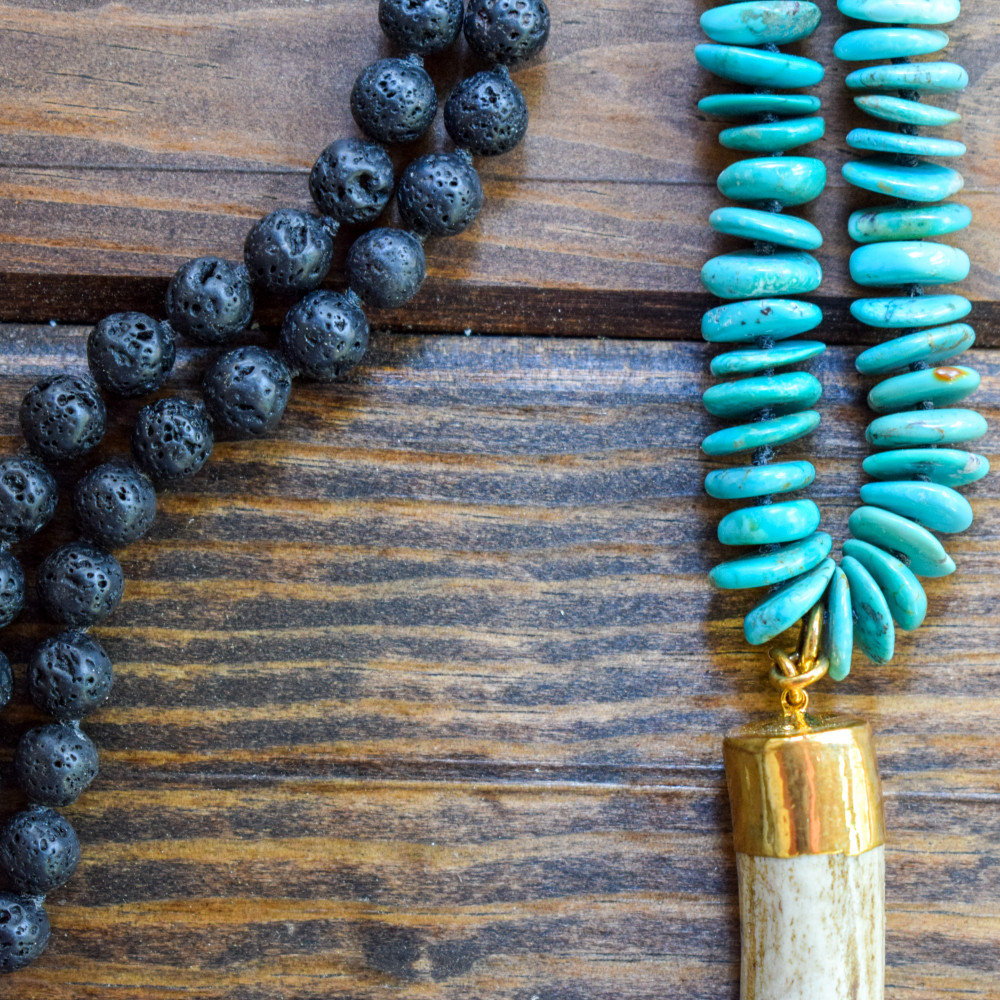 Turquoise, Lava, and Antler Necklace