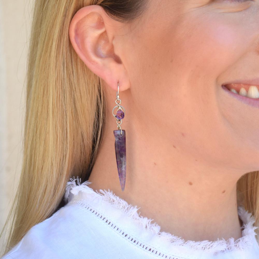 Amethyst Dagger Earrings