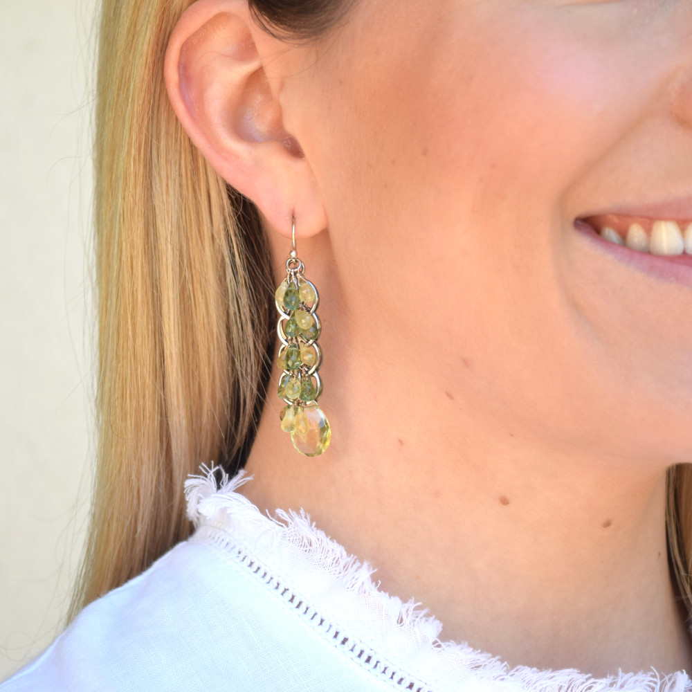 Lemon Topaz/Tourmaline Cascading Earrings