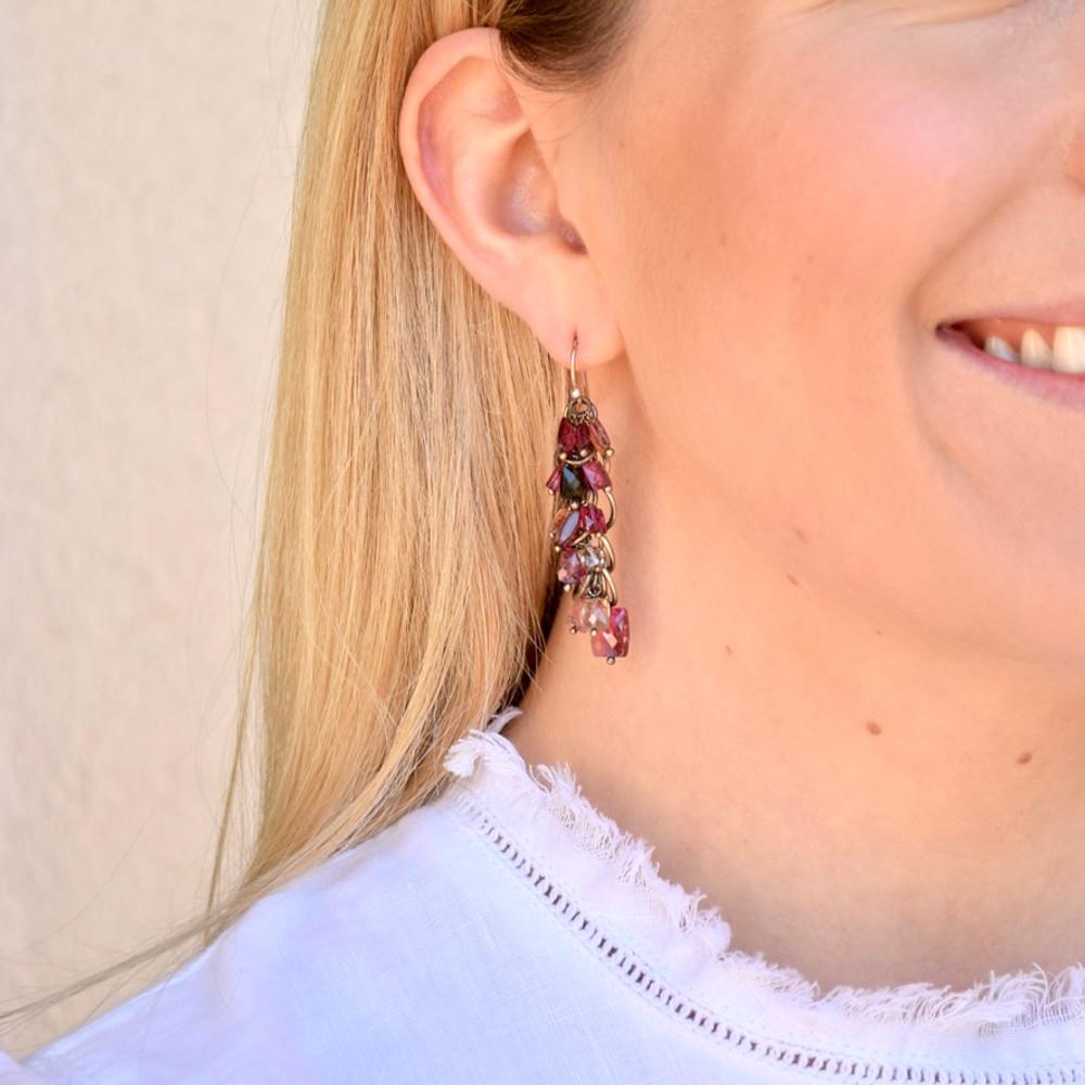 Pink Tourmaline Cascading Earrings