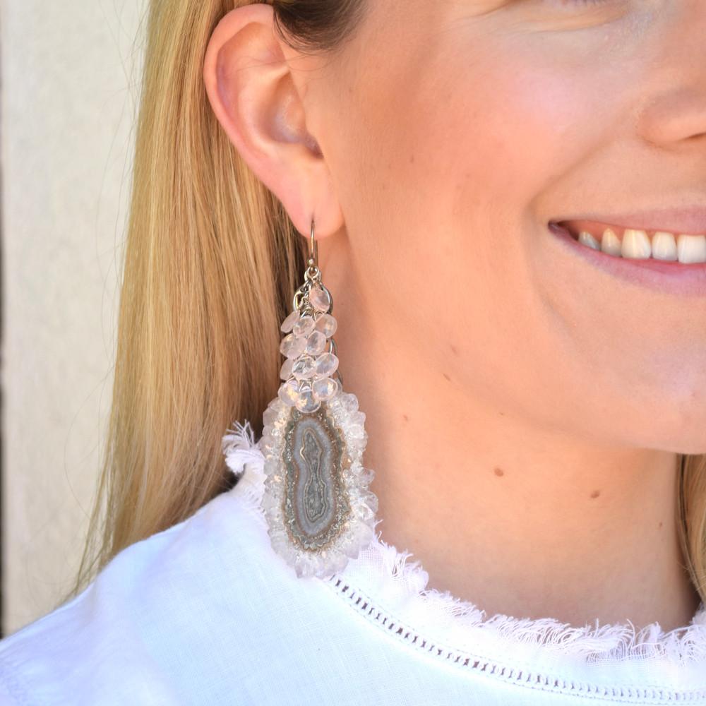 Tourmaline Slice/Rose Quartz Earrings