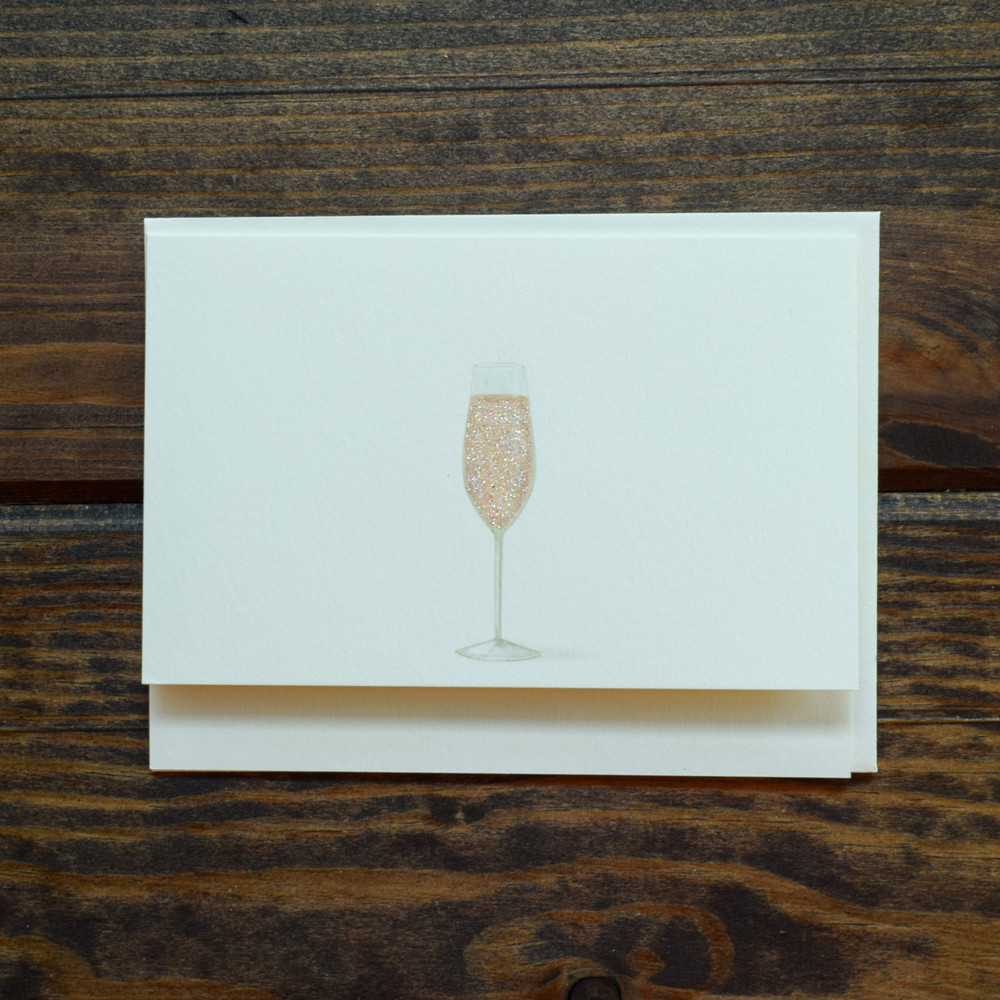 """Pink Champagne"" Notecard-Say Yes"