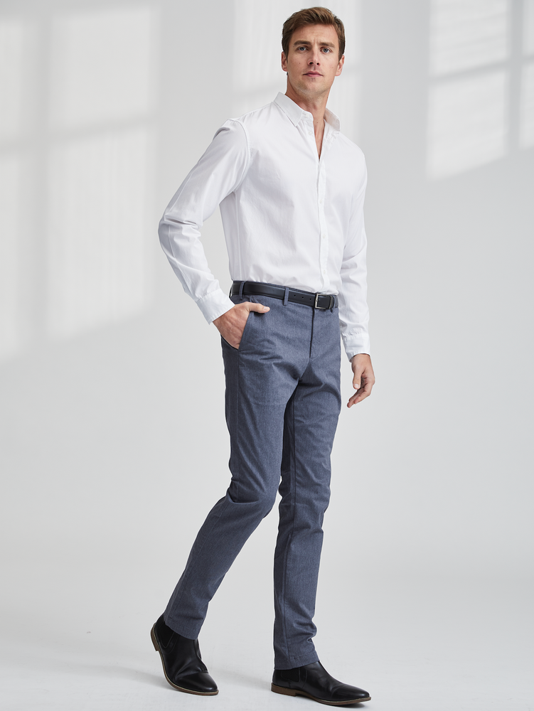 White Poplin   A classic styled button down. Finbar has no front pockets and a hidden button down collar, perfect for dressing up with a suit, or wearing untucked for a tailored casual look. Made from the finest fabrics, you will be looking fresh where ever you end up!
