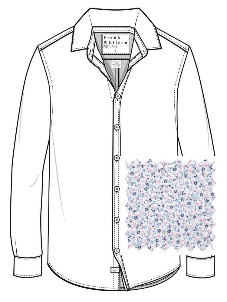 Mini Blue, Pink Floral   A classic styled button down. Finbar has no front pockets and a hidden button down collar, perfect for dressing up with a suit, or wearing untucked for a tailored casual look. Made from the finest fabrics, you will be looking fresh where ever you end up!