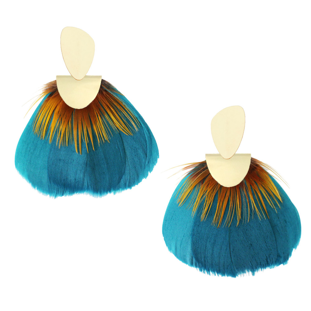 Aquamarine & Silk   A statement earring that is as light as a feather! These Federika Padula earrings are made with natural and dyed feathers to give a bold statement earring. The post earring sit comfortably in the lobe while the feather give a bold statement look and doesn't weigh down on the pierce hole.