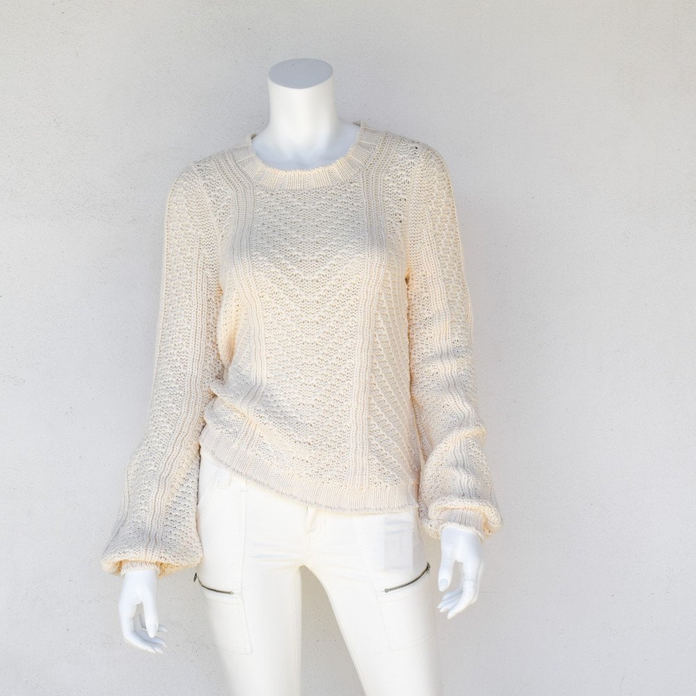 The perfect summer sweater. The slight open stitch, crafted with super soft pima cotton will make it your new favorite. The Tess Sweater features ribbed collar and cuff, and a slight bell sleeve.   - 100% Pima Cotton