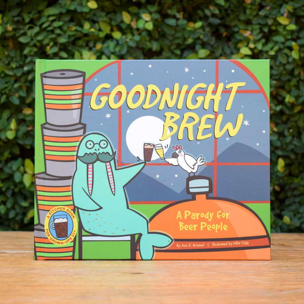 """It's closing time at the brewery. While the moon rises, the happy crew sings and dances as they wind down for the day. Join them in saying goodnight to the beer-making equipment, brew ingredients, and styles of suds.  This humorous parody of a children's literature classic is a """"pitcher book"""" for grown-ups. It's the perfect anytime story for beer lovers everywhere!"""