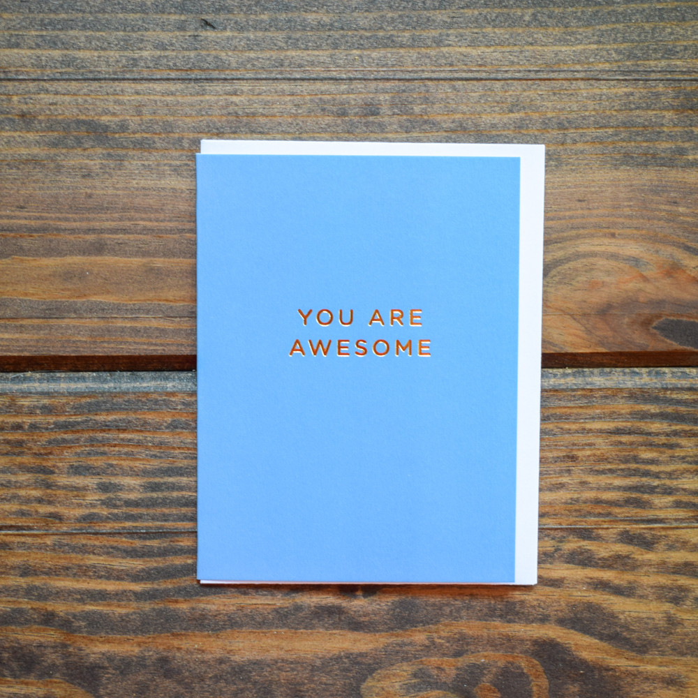 A perfect little pick me up, this small card is blank inside waiting for you words of gratitude, encouragement, or congratulations!