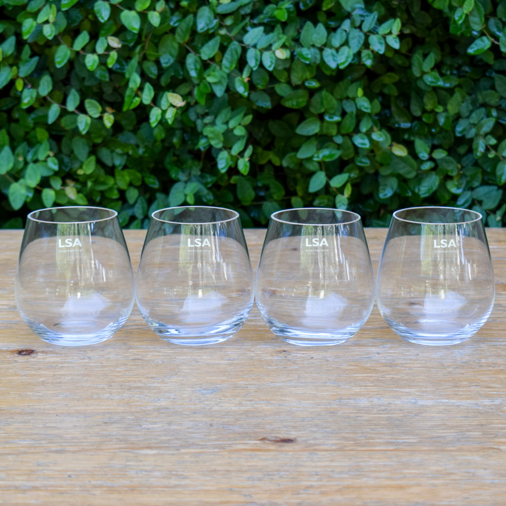 Simple, modern, and classic these stemless wine glasses are a great value for your everyday or special occasion glass. Sold as a set of four, the stemless glass is a perfect sized wine glass that is easy to handle.
