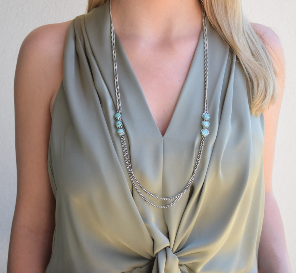 Aventurine Double Strand Long Necklace