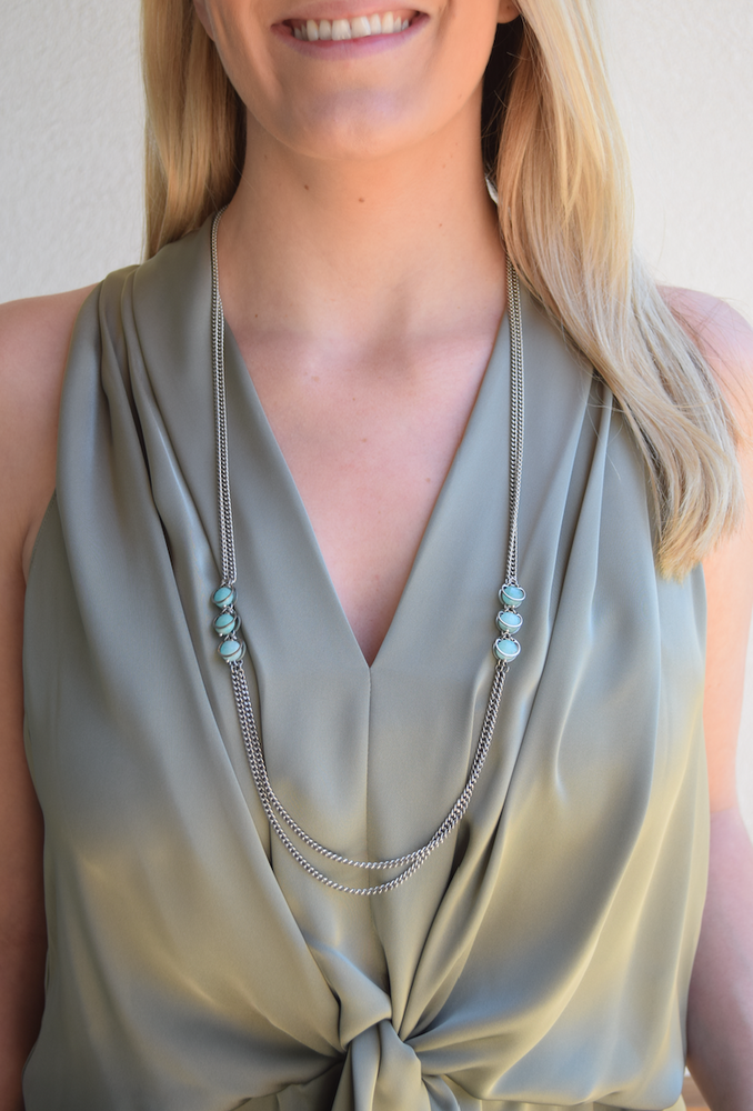 Aventurine Double Strand Long Necklace