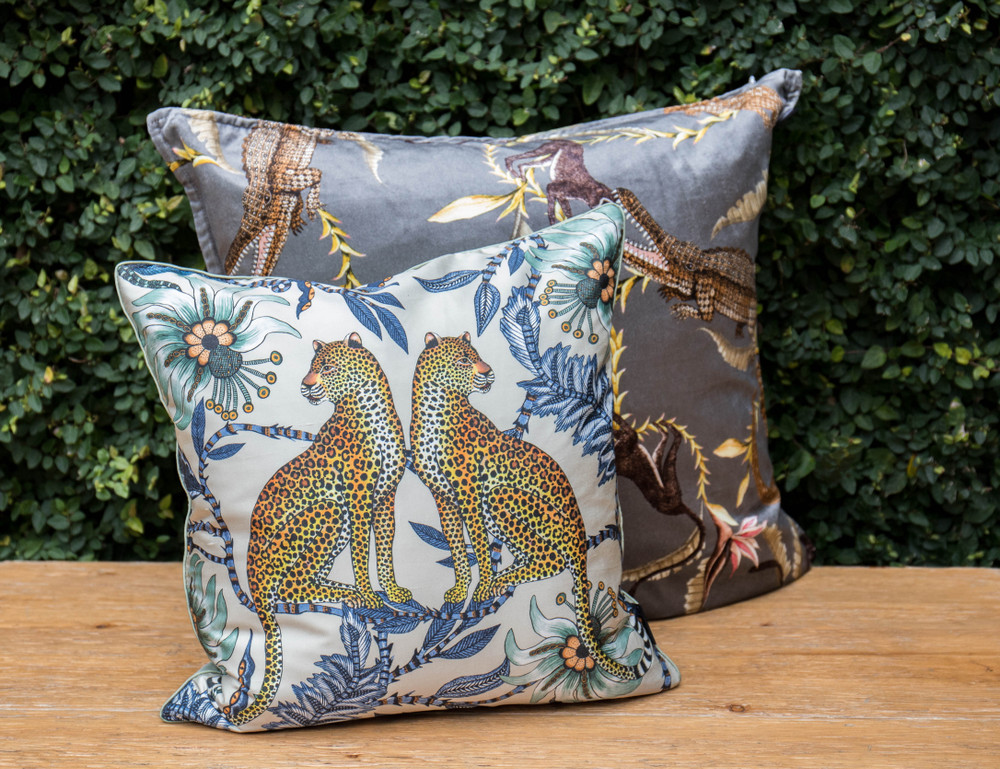 Each pillow is meticulously cut and hand sewn in Johannesburg, South Africa. The stunning and vibrant designs are the perfect addition to any room and pair well together. Each pillow is made from a fabric run giving them a one of a kind unique scene.