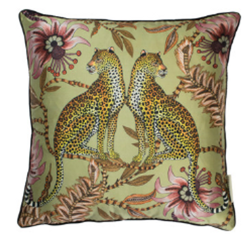 The graceful pair of leopards are enlivened by the soft and shimmering texture of the silk. Surrounded by the florets and lucky beans fo the coral tree they are sure to bring joy to any space.