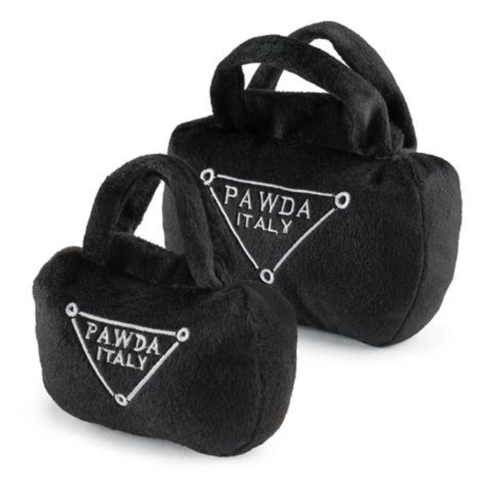 It's called fashion. And your pampered pup should not have to go without! This Pawda handbag is the perfect plush dog toy, with a squeaker inside, for the most fashionable pooches.     6""