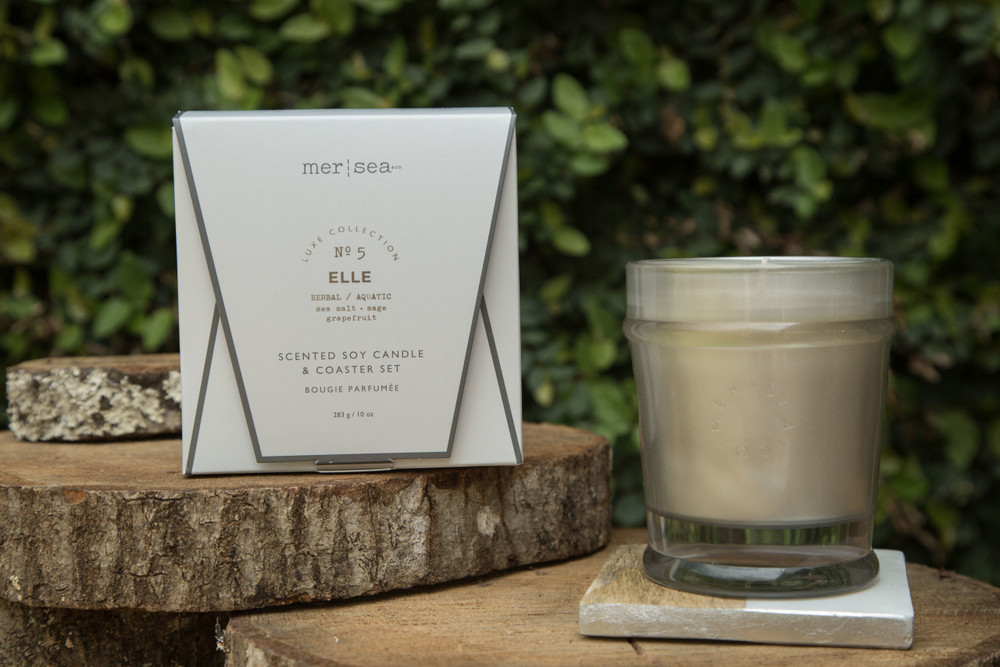 The Mer-Sea collection is soft and aromatic, leaving you feeling like you had the perfect day at the seaside. Available in multiple scents, each 10 oz candle is boxed and includes a complimenting coaster. 55 hours burn time.