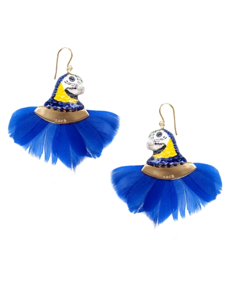 Bleu Parrot Head with Feather Earrings