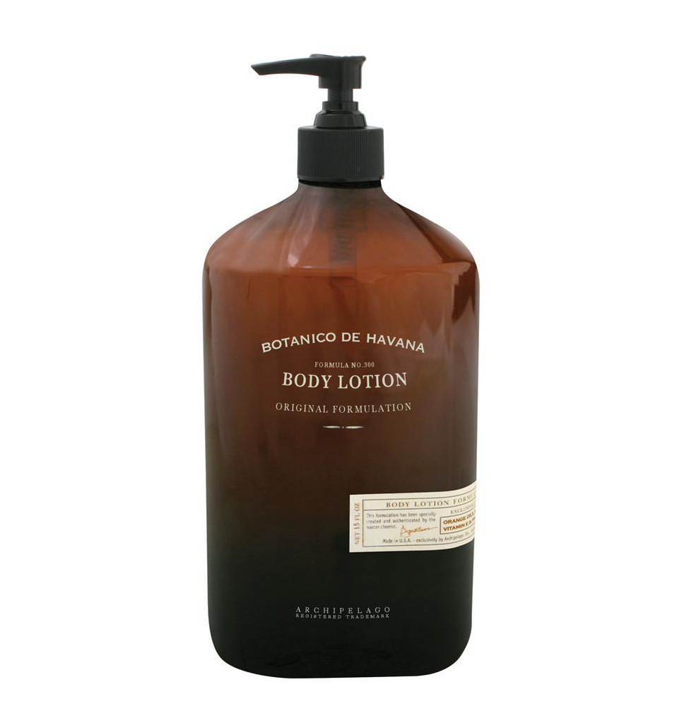 Designed with 1940's Havana in mind, this body lotion employs natural beauty ingredients to give it the distinct scent that makes it so popular.  The antioxidants and AHA's found in our blend of Jojoba Esters, Sugar Cane, Pineapple and Orange Oil ensure this body lotion effectively moisturizes and reduces redness associated with dry, rough skin. Based on our bestselling home fragrance blend, our Botanico de Havana body lotion has a clean, citrus finish and its sophisticated fragrance makes this a favorite body lotion for men and women alike. For best results, use daily for soft and healthy skin.