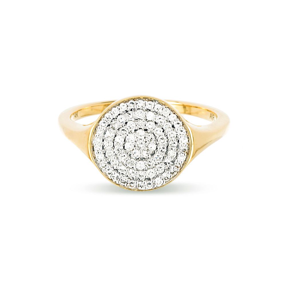 Who doesn't love diamonds? This classic yet modern signet ring gives you a the diamond sparkle without all the weight! The hand set pave disc measures approximately 11mm in length.