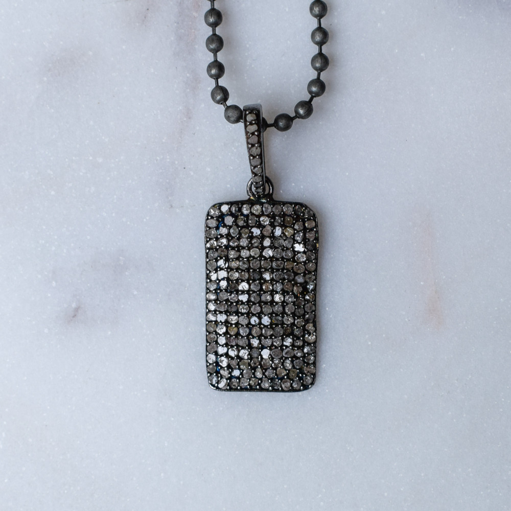 Pave Rhodium Dog Tag Necklace