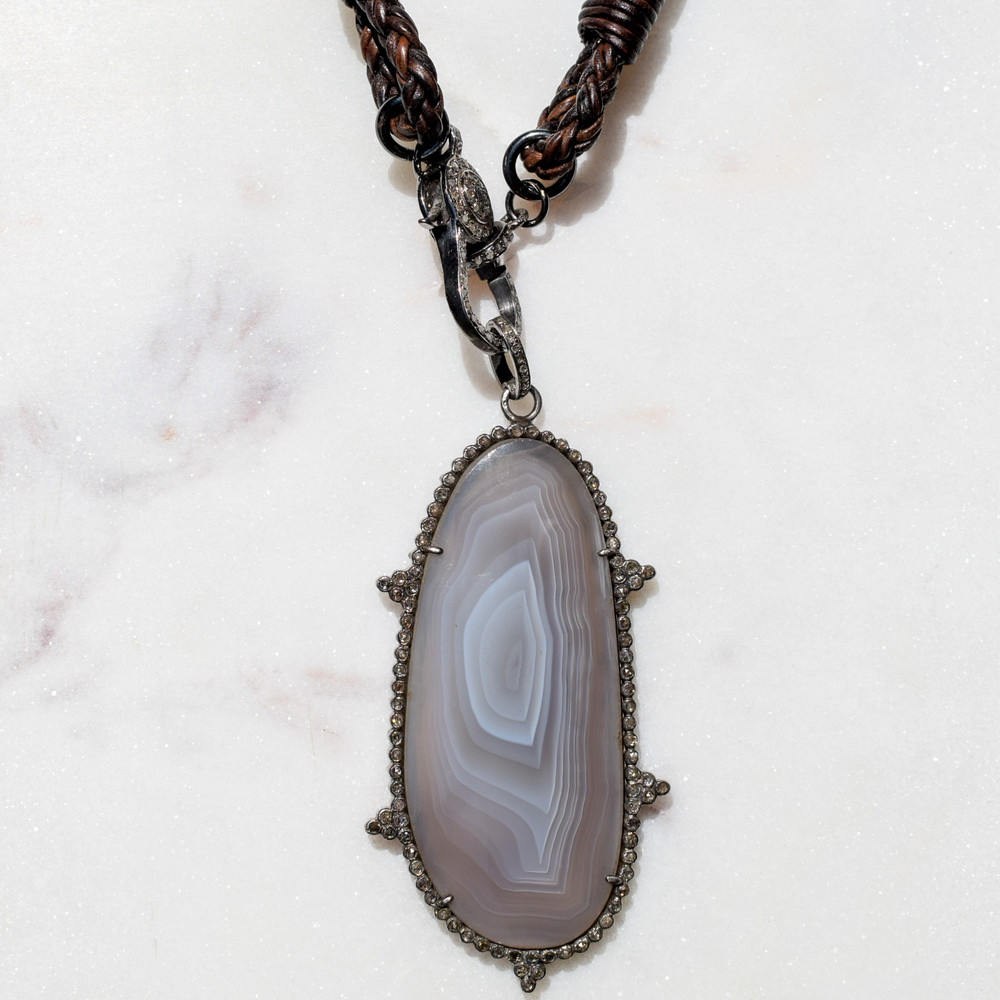 Agate and Pave Pendant on Bolo w/ Pave Clasp
