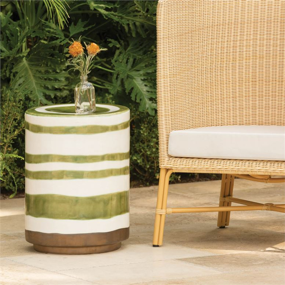 Add a modern yet classic splash of color to your outdoor space. The Zelda stool is handmade and built to last in the elements of your outdoors. The Zelda stool has the perfect amount of color, depth, and artistry in the perfectly imperfect stripes. The simple shape lends itself to be used in a multitude of ways perfect as a stool, side table, or plant holder you will always find a use for this beautiful piece.