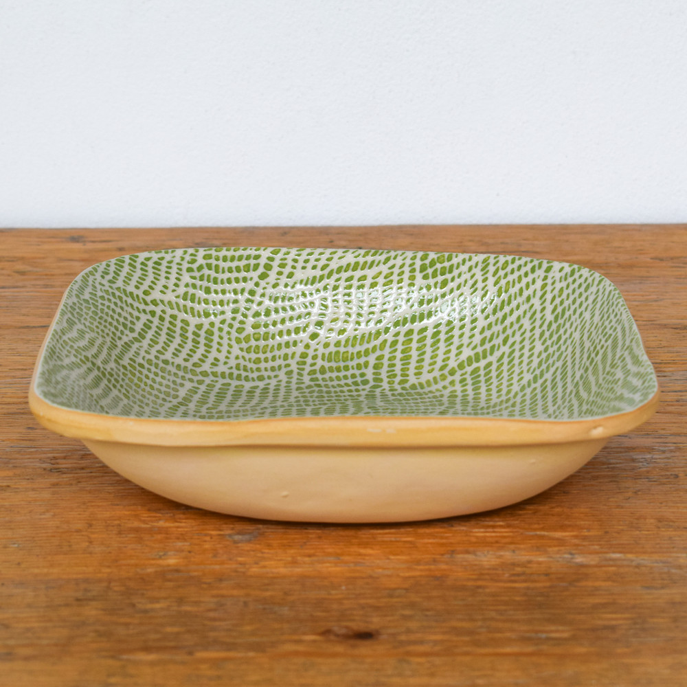 The Square Bowl is a great baker for the deep side dishes you love to make, or leave is on our counter to catch all your tidbits and add a splash of color!
