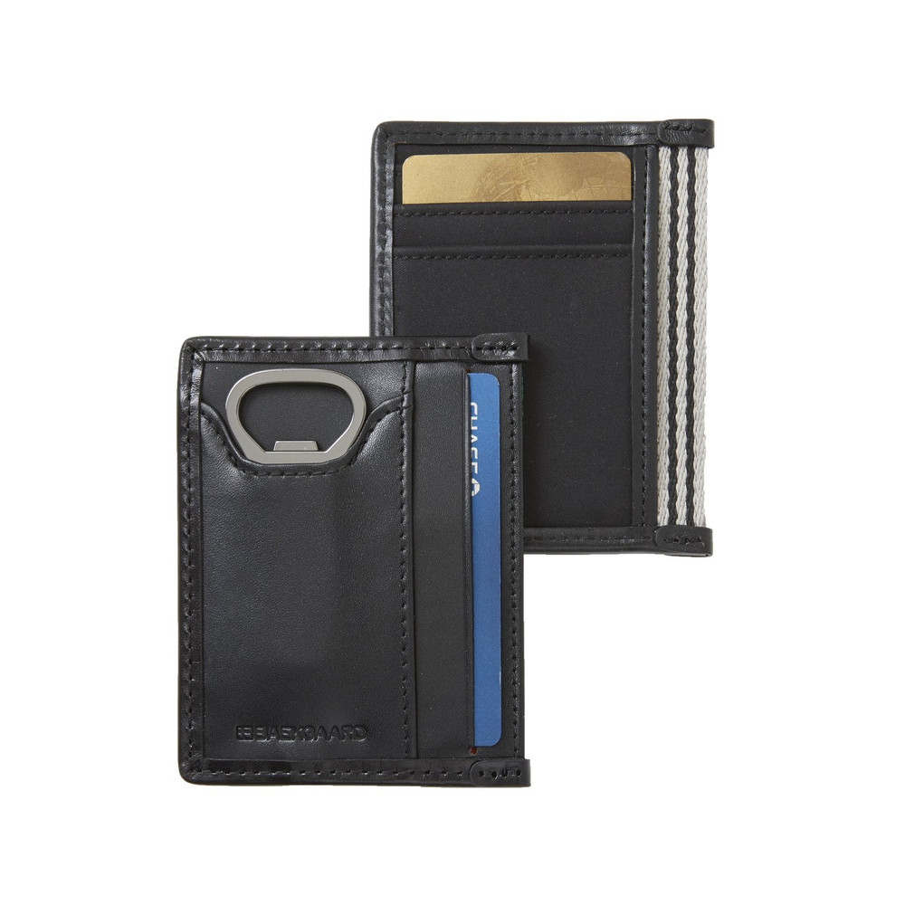 Boasting Baekgaard's modern take on a classic design, this front pocket wallet offers the slim design men desire with the added benefit of an ultra slim bottle opener. Canvas with Italian leather trim.