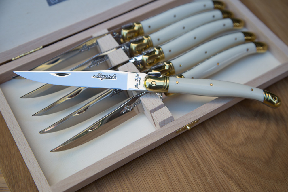 These knives don't just look good the 2.5mm gauge stainless steel blade is impeccable quality and  put through 25 different production stages before it is stamped, polished and packaged. Not to mention the ivory ABS handle that is accented with the brass colored Laguiole bee that is derived from Napolean Bonaparte's imperial seal. These knives pair well with other Laguiole products, or you existing flatware.