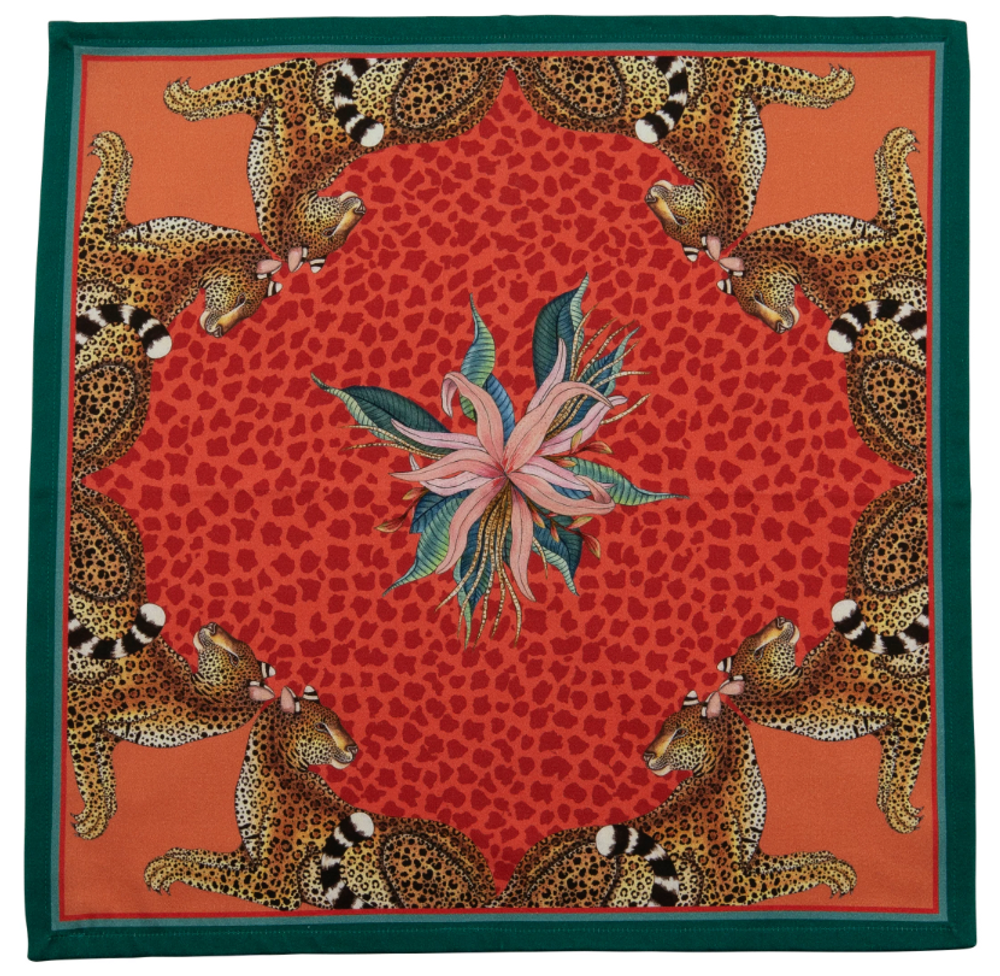 Leopard Lily - Coral  The perfect accent to any place setting! The ardmore napkins feature vibrant and whimsical depictions of the natural life in South Africa.
