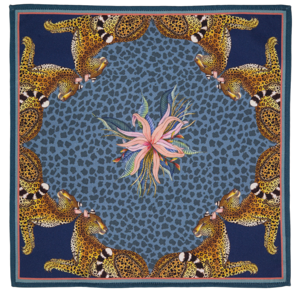 Leopard Lily - Frost  The perfect accent to any place setting! The ardmore napkins feature vibrant and whimsical depictions of the natural life in South Africa.