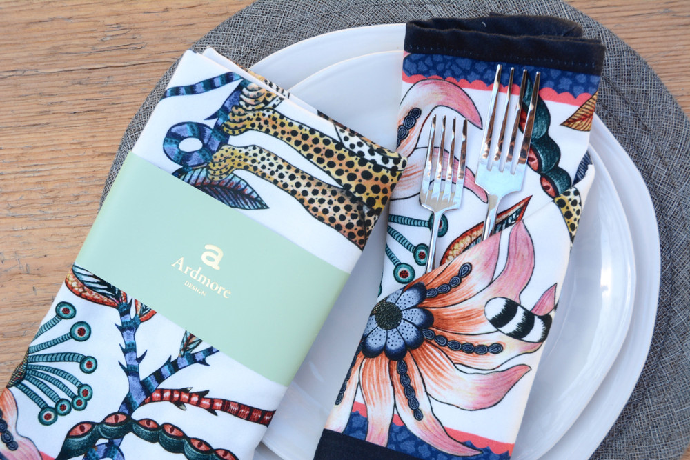 The perfect accent to any place setting! The ardmore napkins feature vibrant and whimsical depictions of the natural life in South Africa.