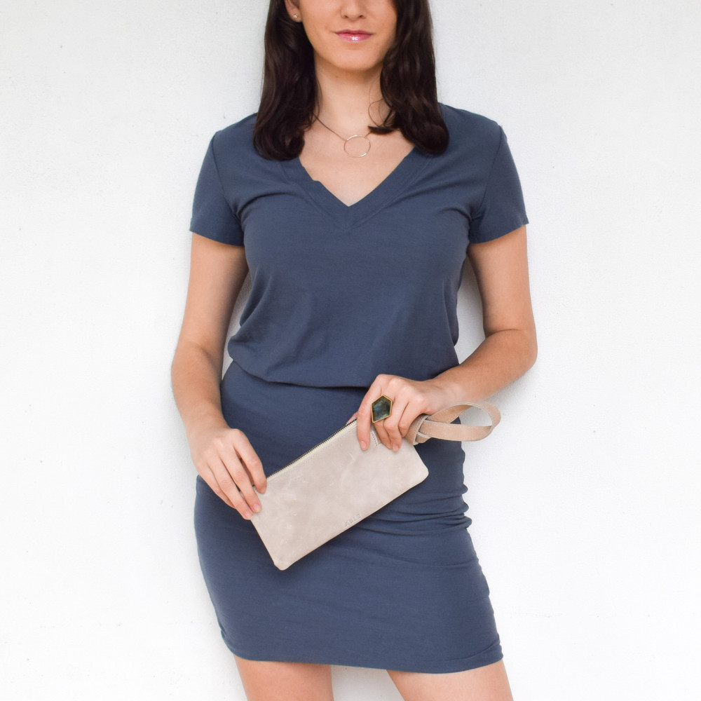 V Neck Blouson Dress