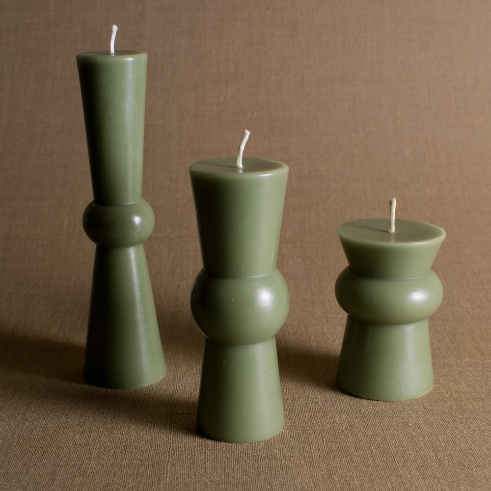 A unique alternative to the everyday pillar candle. The Josee Pillar Candles are available in three different size, each a unique shape on its own. The beeswax burns clean and is accompanied by a cotton wick.