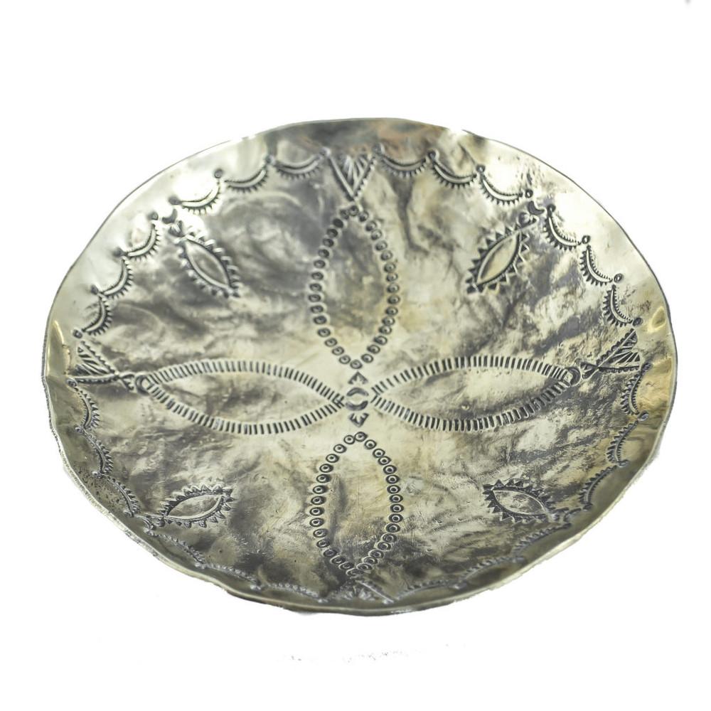 Stamped Round Dish w. 3 Feet