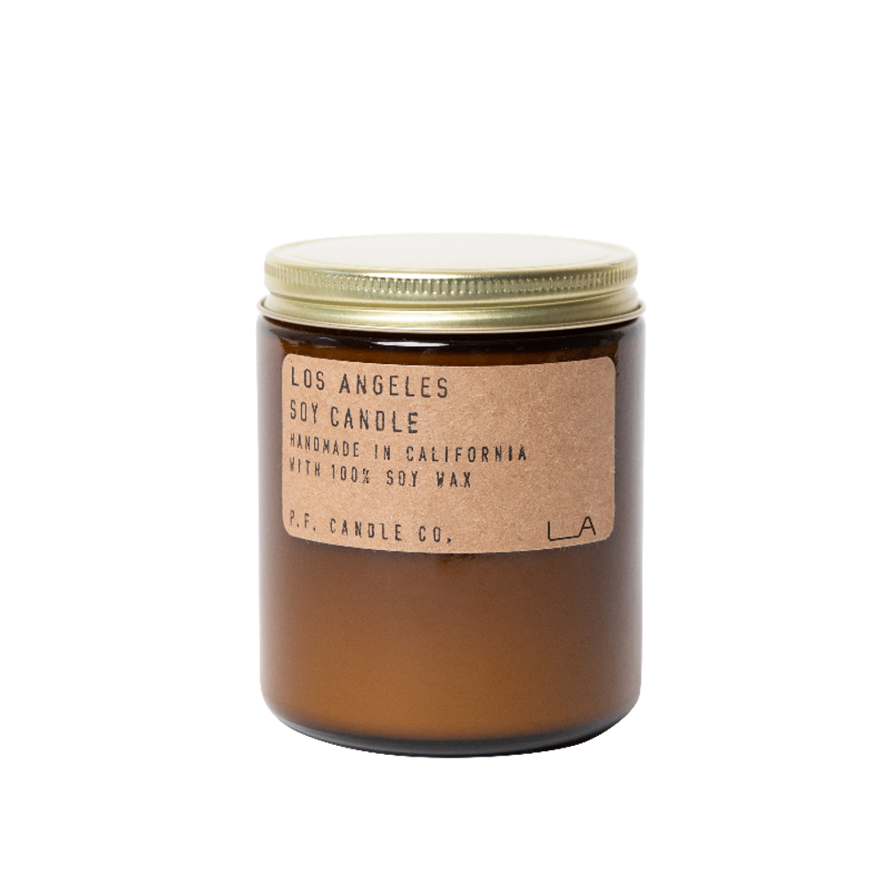 The Los Angeles candle is hand poured in the amber apothecary jar, a signature look for P.F. Candle company. It is composed of 100% domestically grown soy wax, fins fragrance oils and cotton-core wicks. All fragrances are paraben-free and phthalate free.