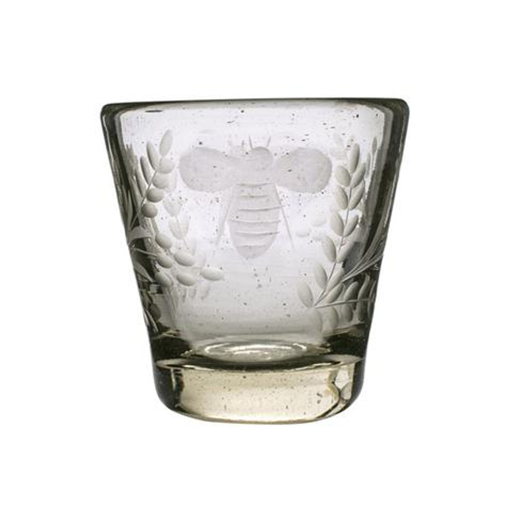 Upgrade your barware! This Jan Barboglio Wee-Bee Clear Glass is the perfect addition to any bar ware collection. The mouth blown glass offers a substantial cup with an elegant bee engraving.
