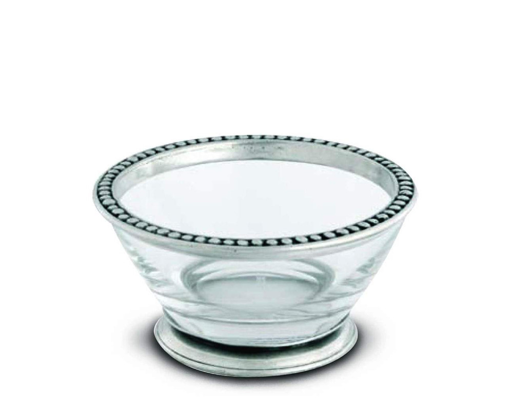 A lovely addition to any home, this clear glass bowl sits atop a pewter ring base and is finished with a top rim of pewter designed after the Medici family crest.