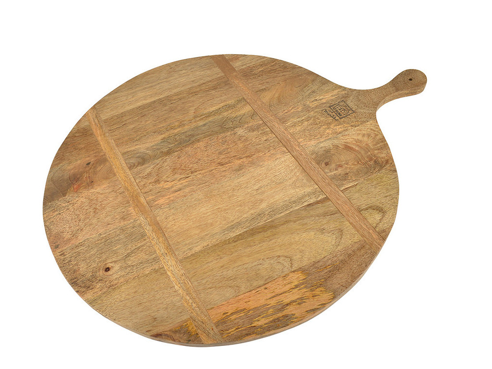 An oversized cheese board that looks just as great serving cheese as it does on your counter for everyday.  The Mango wood offers a smooth grain that is finished with a food safe lacquer, easy to clean and maintain!