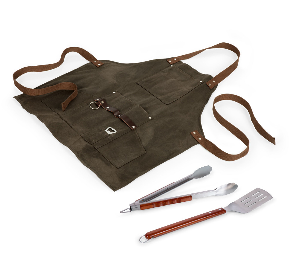 Become the BBQ hero you were destined to be and change hungry lives by donning the waxed canvas BBQ Apron from Picnic Time. Keep yourself clean with this stylish waxed canvas and leatherette apron, which will not only make you look cool but be genuinely practical as well. The apron has a neck strap, waist ties, and specific pockets for the included grilling accessories: one steel BBQ spatula, a set of steel tongs, and a bottle opener. There's a leather tool rack built-in, with a towel ring and several slots for additional utensils, as well as two large drink pockets. Look and feel like a pro next time you grill!