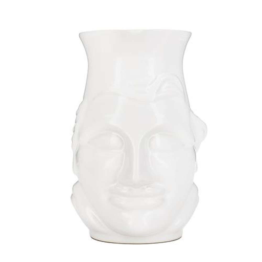 A whimsical and modern addition for your home! The El Sabio pitcher is perfect to serve your favorite beverage, hold flowers, and looks great on the shelf when not in use!