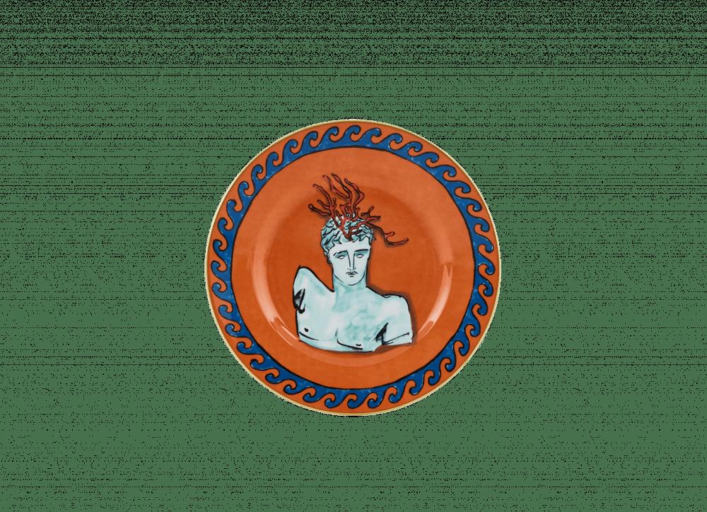 Neptune's Voyage Dessert Plate - Rock Orange