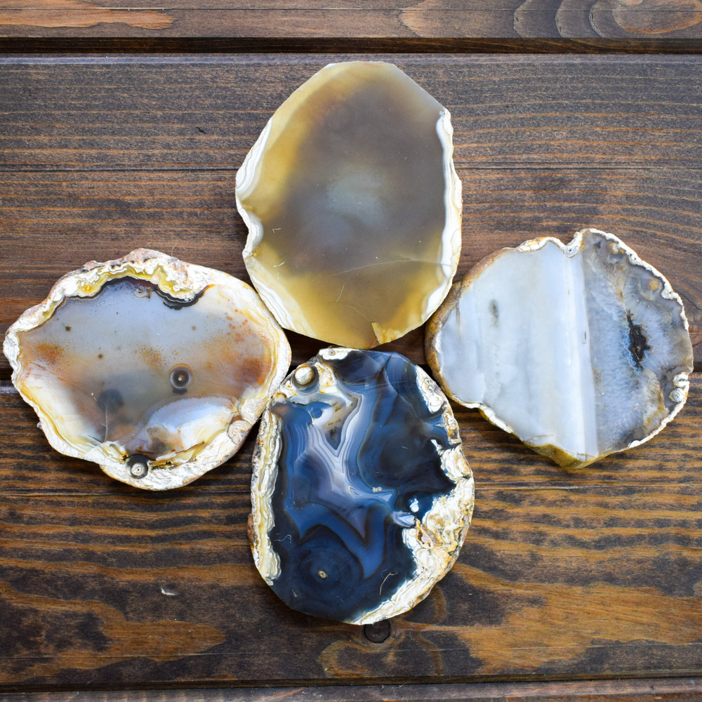 """4"""" Brown Round Agate Coasters (Set of 4)"""