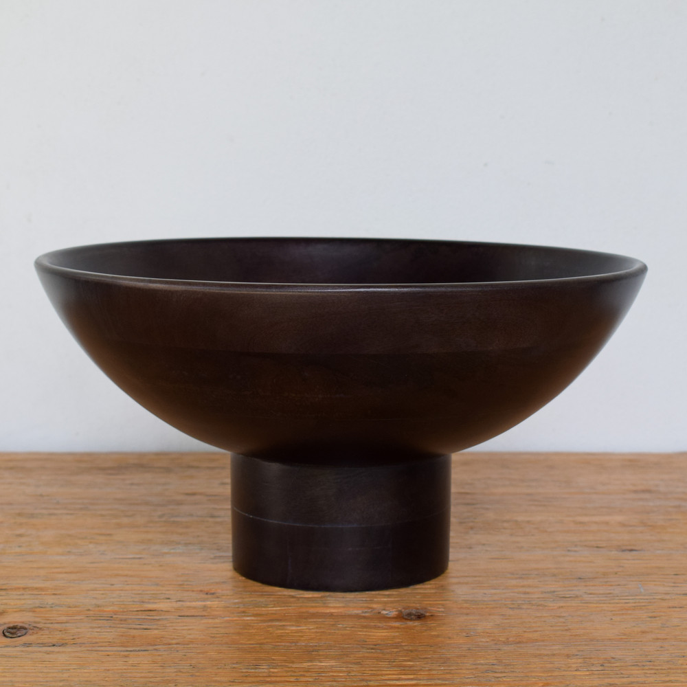 Mango Wood Pedestal Bowl - Ebony
